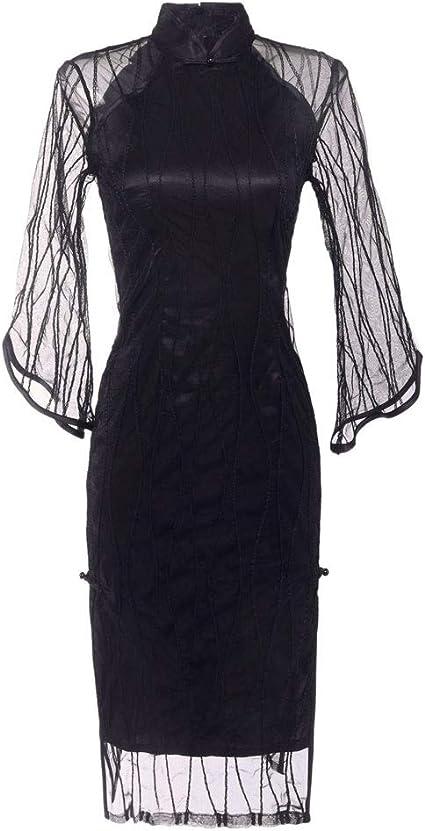 Myw Sexy Transparent Mesh Spitze Chinesische Art Cheongsam Tag Temperament Schlank Schwarzes Kleid Color Black Size Xxl Amazon De Bekleidung