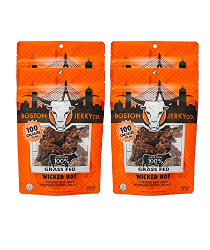 Boston Jerky 100% Grass Fed Beef Jerky | Premium Meat Snack with 14 Grams of Protein | Nitrate and MSG Free (Wicked Hot, 4 Pack)