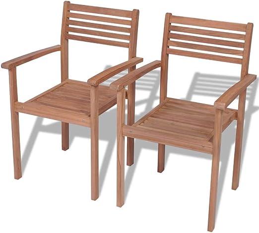 Tuduo Juego de sillas de jardín 2 Unidades apilables de Madera de ...