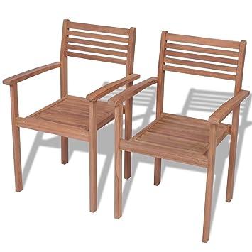 Tuduo Juego de sillas de jardín 2 Unidades apilables de ...