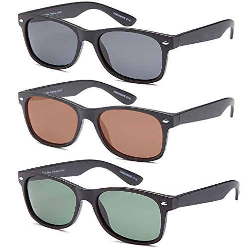 Gamma Ray Polarized UV400 Classic Style Sunglasses with Mirror Lens, 3 PACK - - Styles Of For Men Sunglasses