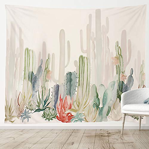 Manicer Cactus Tapestry, Colorful Plant Herbs Tapestry Wall Hanging Nature Scenery Tapestries Art Print Mural for Bedroom Living Room Dorm Home Décor 59.1 x 51.2 Inches