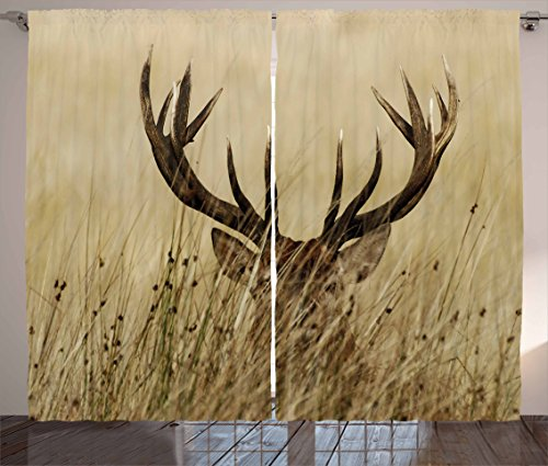 Ambesonne Antler Decor Curtains, Whitetail Deer Fawn in Wilderness Stag Countryside Rural Hunting Theme, Living Room Bedroom Window Drapes 2 Panel Set, 108 W X 84 L Inches, Brown Sand Brown For Sale