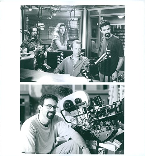 """Old-fogeyish photo of Michael Lehmann, Steve Buscemi, Brendan Fraser and Michael McKean working on the set of a 1994 American crime-comedy film, """"Airheads."""""""