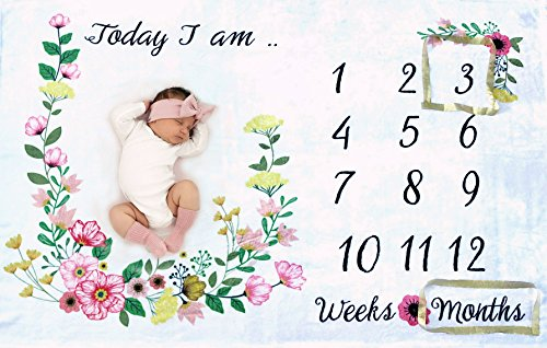 Baby Monthly Milestone Blanket for Girl or Boy/ LARGE & SOFT/ Newborn Photo Prop Blanket/ Unique BABY SHOWER GIFT/ NO IRONING Needed/ Months Blanket/ - Large size 60x40 blanket /Watch me grow blanket/ (Boy Blanket Baby Girl)
