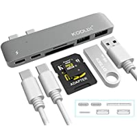 "KODLIX GN28A Dual USB-C Hub Type-C Adapter with Thunderbolt 3 PD Charging, 5K Video Output, 2USB 3.0 Ports, MicroSD/SD Card Reader for Macbook Pro 13"" or 15"" MacBook Pro 2016/2017 - Grey"