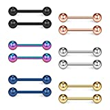 Ruifan Mix Color 316L Stainless Steel Nipple Shield Barbell Ring Bar Body Piercing 16G 12mm 12PCS