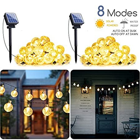 2-Pack Solar String Lights 20FT 30 LED Crystal Globe Lights with 8 Modes, Solar Powered Waterproof Fairy Lights for Outdoor...