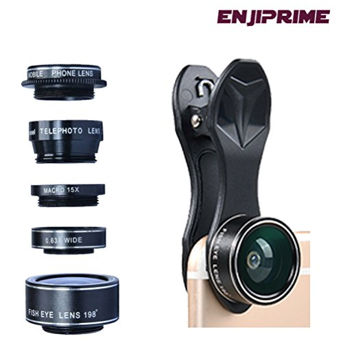 Iphone and Android Camera lens kit wide angle - 5 in 1 clip-on smartphone zoom lenses, compatible with all Apple, Samsung and other cell phone cameras. Compact to carry and easy to use
