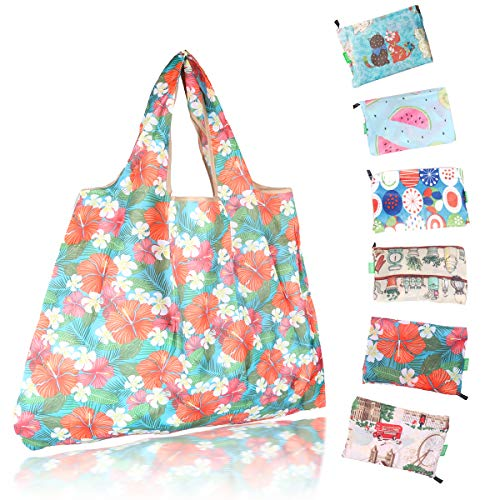 Foldable & Reusable Grocery Bags, Large Capacity but Fit in Pocket, Washable Water Resistance Sturdy Shopping Bag Durable Eco-friendly (6 Pack)