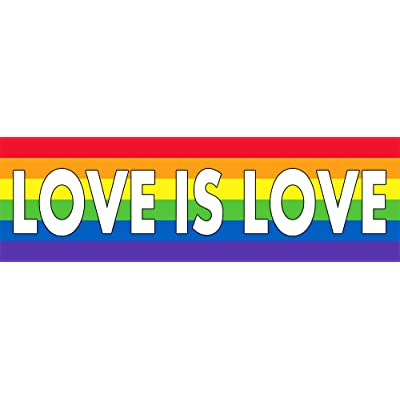 LGBT Pride Rainbow Love is Love Sticker Decal Vinyl Bumper Flag Vertical Stripes Bright and Vibrant Colors Rainbow Flag Prank Joke Funny DÉCOR CAR Truck Locker Window Wall Notebook Stickers: Computers & Accessories