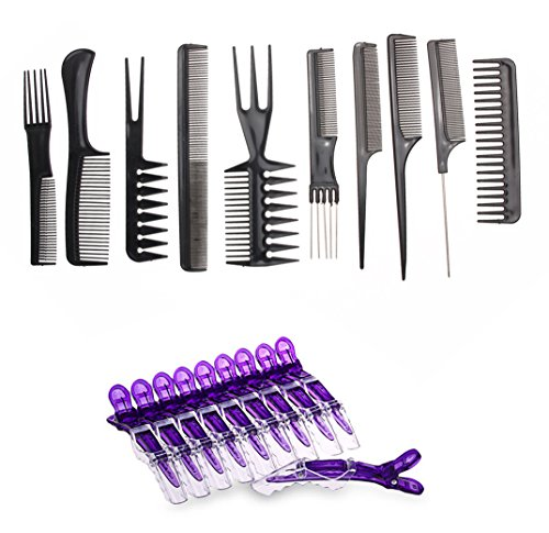 Le Fu Li 10pcs/Set Professional Hair Brush Comb Salon Barber Anti-static Hair Combs Hairbrush Hairdressing Combs Hair Care Styling Tools (Hair Brush Sets)