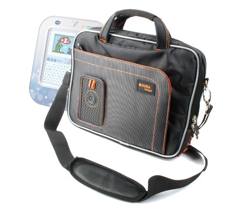 Black And Orange Padded Carry Bag / Case with Removable Shoulder Strap for the LeapFrog Fridge Words Magnetic Word Builder - by DURAGADGET