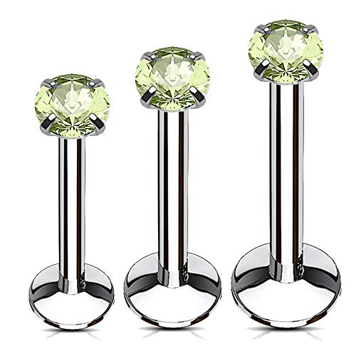 MoBody 3PCS Labret Piercing Studs Set 16G Prong Set Monroe Lip Ring Helix Jewelry Value Pack 6mm-10mm (Green CZ)