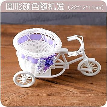 XIAOYANJIA Decoraciones para el hogar Simulación de tejido de mimbre E334 Bicicleta de tres ruedas Flotador Maceta de plástico Arreglo de flores Cesta de ...