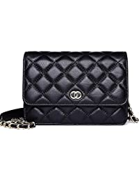Classic Crossbody Shoulder Bag for Women Quilted Lamb Leather Handbags Purse with 6 Card Holder Slots (NP2133)