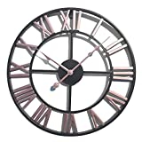Goshfun Vintage Wall Clock, 3D Roman Numerals Silent Wall Clock Large Metal Decorative Clock for Living Room Kitchen Bedroom, 16-Inch, Pink