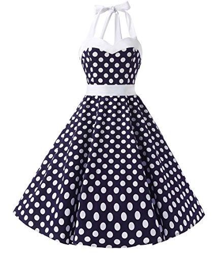 DRESSTELLS Vintage 1950s Rockabilly Polka Dots Audrey Dress Retro Cocktail Dress Blue White Dot 2XL