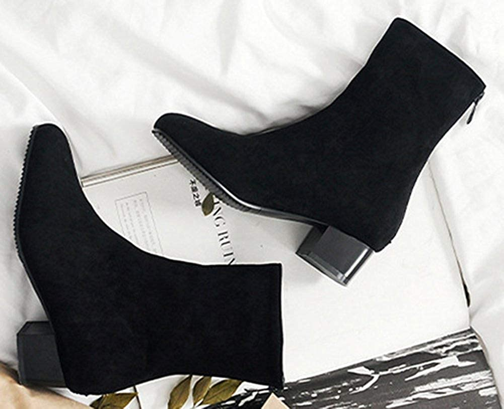 Womens Simple Comfort Square Toe Zip Up Stacked Low Heel Short Boots with Zipper