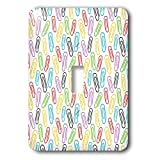 3dRose Alexis Design - Pattern Back To School - Back to school pattern of colorful paper fasteners or clips - Light Switch Covers - single toggle switch (lsp_292903_1)