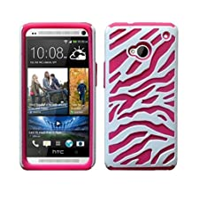 Fincibo (TM) Combo 2: Protector Cover Case Hybrid Zebra White/ Hot Pink + Black/ Pink for HTC One M7