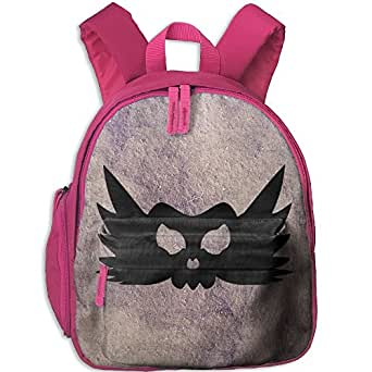 Small School Daypack Creating With Skull Wings Halloween For Kindergarten Unisex Child Pink