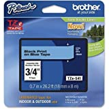 Brother Lettering Tape, 3/4'' Size, Black/Blue (TZE-541)