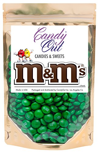 Dark Green m&m 1 Pound Milk Chocolate in CandyOut Sealed Stand Up Bag