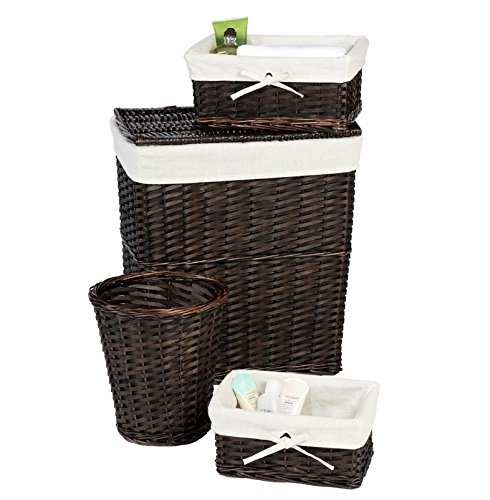 Laundry Hamper Storage Set Lined Wicker Baskets And Clothes Hamper With Lid Perfect Bathroom