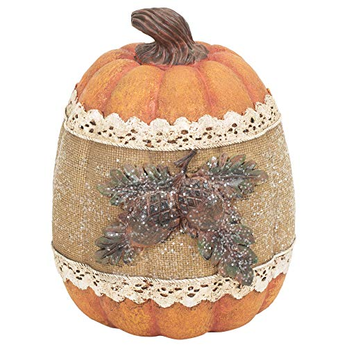 Delton Products Corp Lace Trim Acorn Pumpkin 5.5 x 7 inch Resin Harvest Tabletop Figurine -