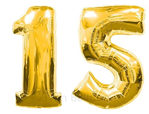 ZiYan 40 Inch Giant 15th Gold Number Balloons,Birthday/Party balloons.