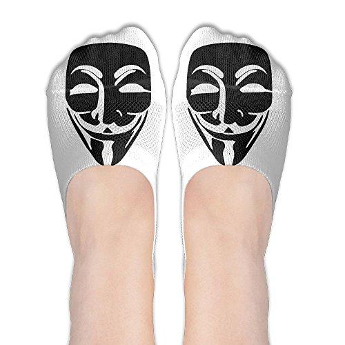 Anonymous Smile Beard Face Mask Womens Non Slip Athletic Ankle Boat Short Socks