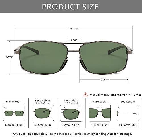 SUNGAIT Ultra Lightweight Rectangular Polarized Sunglasses UV400 Protection