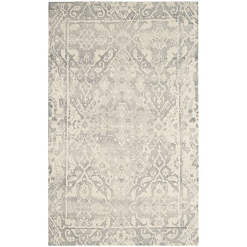 Safavieh Restoration Vintage Collection RVT532B Handmade Light Grey and Ivory Wool Round Area Rug (6' Diameter)