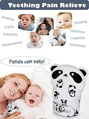 NEPAK 4 Pack Baby Teething Mitten,Baby Bei/ßhandschuhe,Knisternder Handschuh f/ür Babys,Age 2-12 Months Blue + Pink