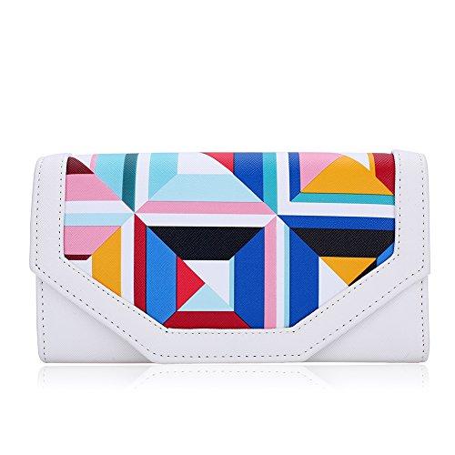 Womens Fashion Evening Bags Clutch , WALLYN'S Wedding Handbag leather Purses with chain (White) by WALLYN'S