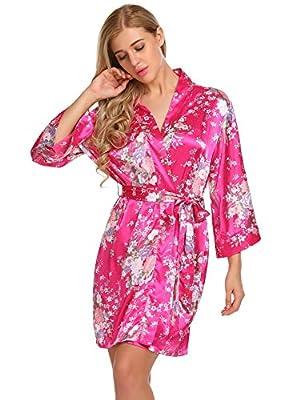Elever Womens Robe 3/4 Sleeve Floral Soft Silk Kimono Bridesmaid Short Sleepwear