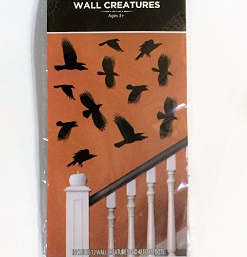 Wall Creatures Halloween Door Decoration, RAVEN / CROW [12 units / pk] Silhouette/Cutout 3D Effect.
