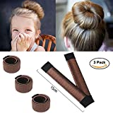 Ochioly Hair Bun Maker, Size 5.9 inch Magic Bun Shaper Donut Hair Styling for Kids Curler Roller Dish Headbands,3 Pack (Dark brown)