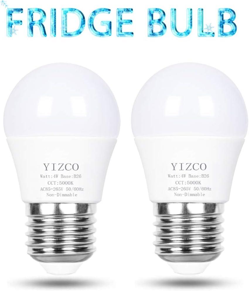 A15 Refrigerator Light Bulb Appliance 40 Watt 120v Bulbs Fridge Freezer Led Bulbs Waterproof Daylight White 2 Pack