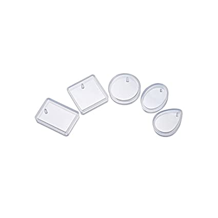 ROSENICE Silikon Formen Schmuck Anhänger Gießform für DIY Schmuckherstellung 5 Stück (Rechteck Waterdrop runden quadratischen