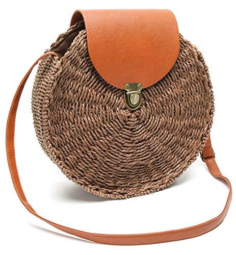 Obosoyo Straw Crossbody Bag Women Weave Shoulder Bag Round Summer Beach Sea Tote Handbags Style2 Brown