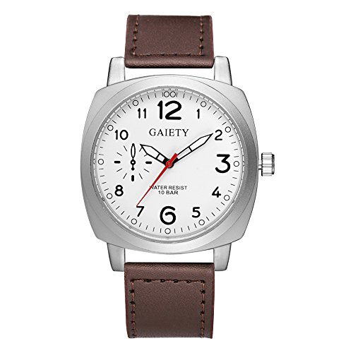 Gaiety Tonneau Men's Leather Dress Watches Analog Quartz Arabic Numbers G454 (Dark Brown+White dial)