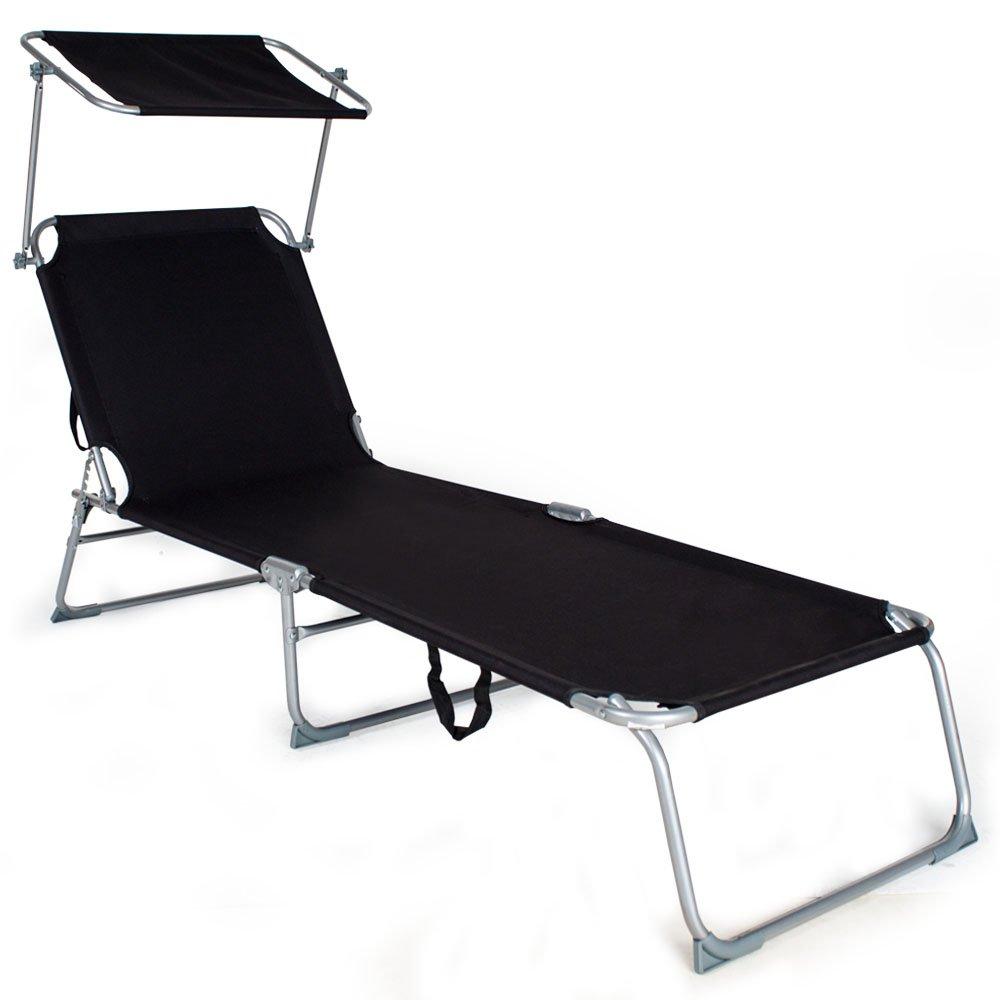 TecTake® 4 x Gartenliege Sonnenliege Strandliege Freizeitliege mit Sonnendach 190cm schwarz