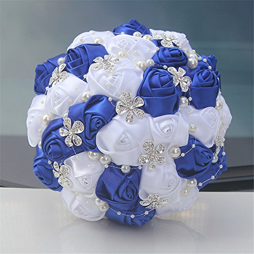 Advanced Customization Romantic Bride Wedding Holding Bouquet Roses with Diamond Pearl Ribbon Valentine's Day Bouquet Confession Many Colors for Choose 18cm (Royal Blue+White)