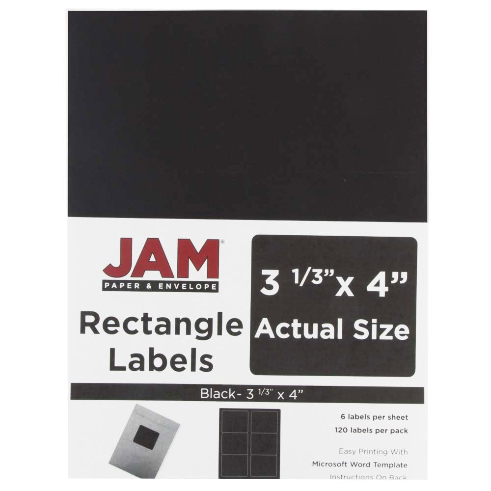 JAM Paper Shipping Address Labels - Large - 3 1/3'' x 4'' - Black - 120/pack