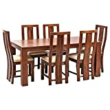 Wooden Dining table with 6 Chair,LifeEstyle-com Six Seater Dining Table Set In Sheesham Wood (Brown)