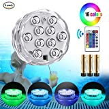 Mouttop Submersible Swimming Pool Led Lights IR Remote 10-LED RGB Waterproof Battery (Included) Pond Lights for Aquarium, Vase Base, Pond, Garden, Party, Christmas, Halloween - 4 Pack