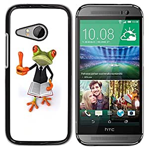 TopCaseStore / la caja del caucho duro de la cubierta de protección de la piel - Smart Book Teach White Frog - HTC ONE MINI 2 / M8 MINI