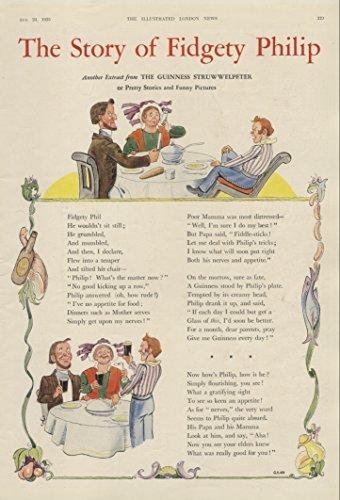 1935 Ad Guinness Beer Stout Ale Story of Fidgety Philip Struwwelpeter GE492 Poem - Original Vintage Advertisement